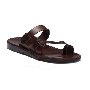 Jabin brown, handmade leather slide sandals with toe loop - Front View