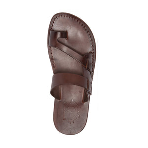 Jabin brown, handmade leather slide sandals with toe loop - Top View