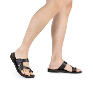 Jabin black, handmade leather slide sandals with toe loop - model View