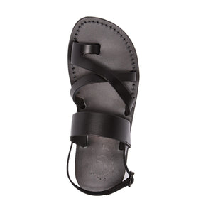 Amos black, handmade leather sandals with back strap and toe loop - Top view