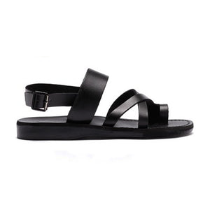 Amos black, handmade leather sandals with back strap and toe loop - side view