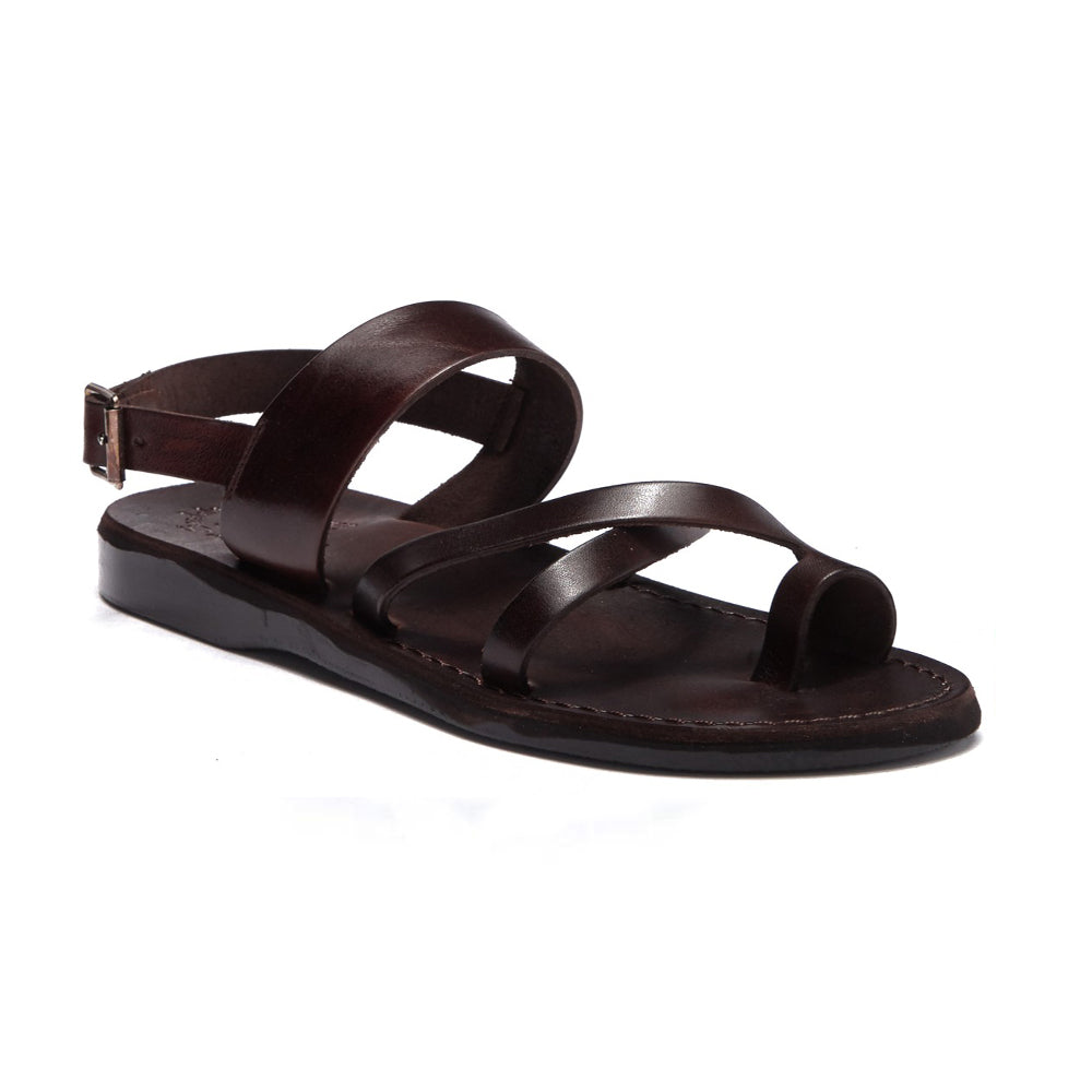 Amos brown, handmade leather sandals with back strap and toe loop - front view