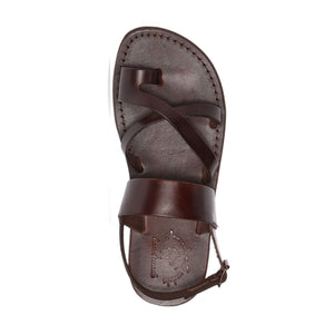 Amos brown, handmade leather sandals with back strap and toe loop - top view