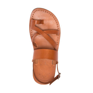 Amos black, handmade leather sandals with back strap and toe loop - front view