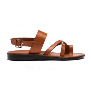 Amos honey, handmade leather sandals with back strap and toe loop - front view