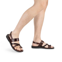 Load image into Gallery viewer, Amos brown, handmade leather sandals with back strap and toe loop - Model view