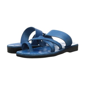 The Good Shepherd blue, handmade leather slide sandals with toe loop - Side View