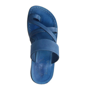 The Good Shepherd blue, handmade leather slide sandals with toe loop - up View