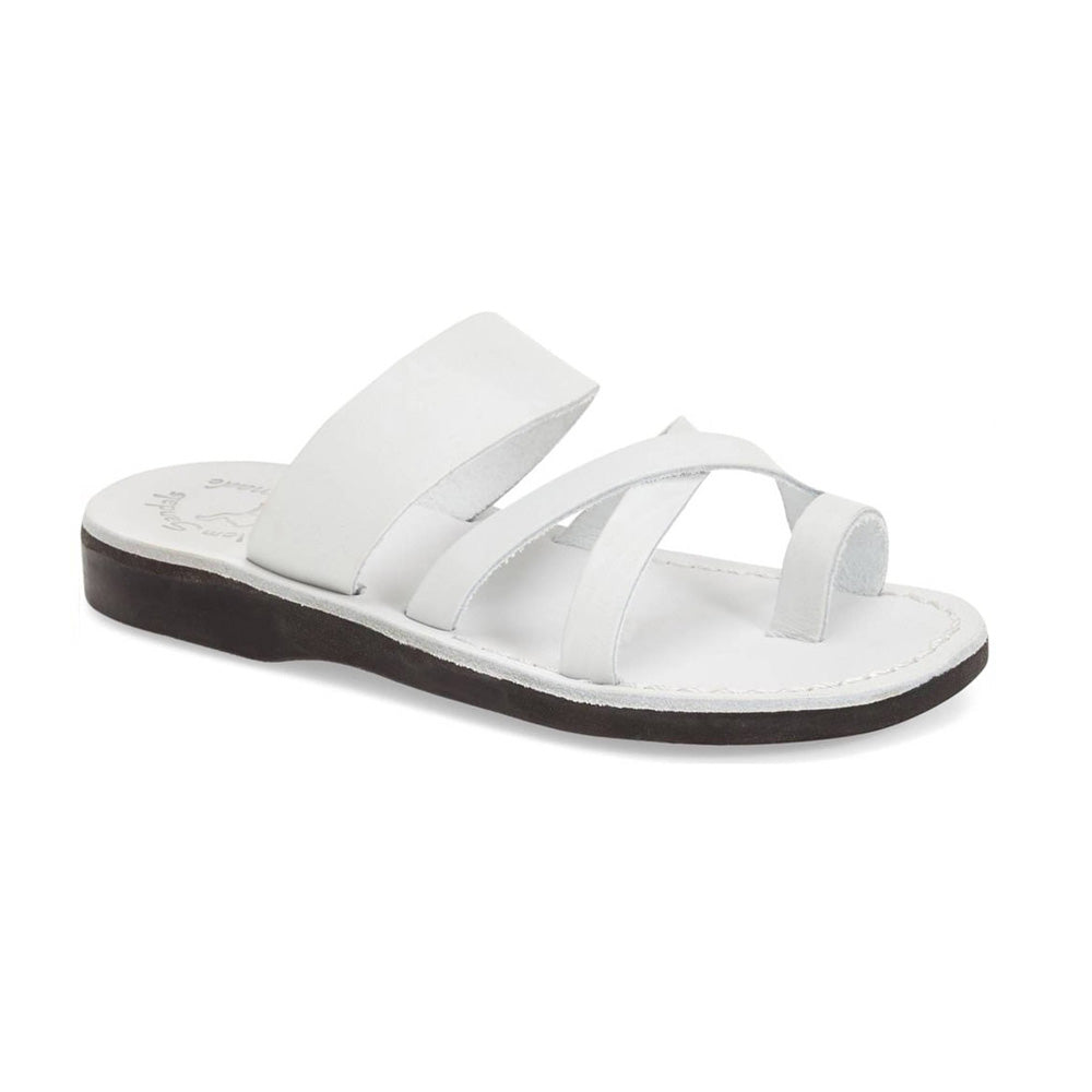 The Good Shepherd white, handmade leather slide sandals with toe loop - Front View