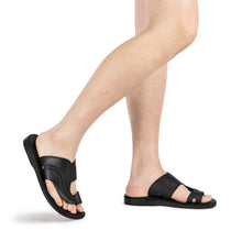 Load image into Gallery viewer, Peter Black, handmade leather slide sandals with toe loop - Model View
