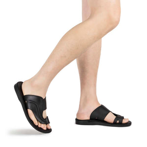 Peter Black, handmade leather slide sandals with toe loop - Model View