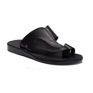 Peter Black, handmade leather slide sandals with toe loop - Front View