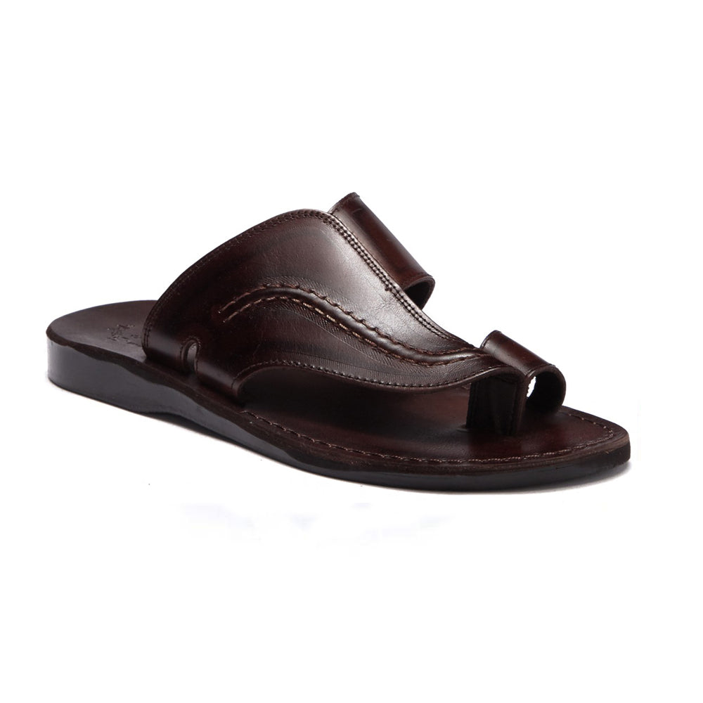 Peter Brown, handmade leather slide sandals with toe loop - Front View
