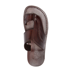 Peter Brown, handmade leather slide sandals with toe loop - Top View