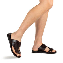 Load image into Gallery viewer, Peter Brown, handmade leather slide sandals with toe loop - model View