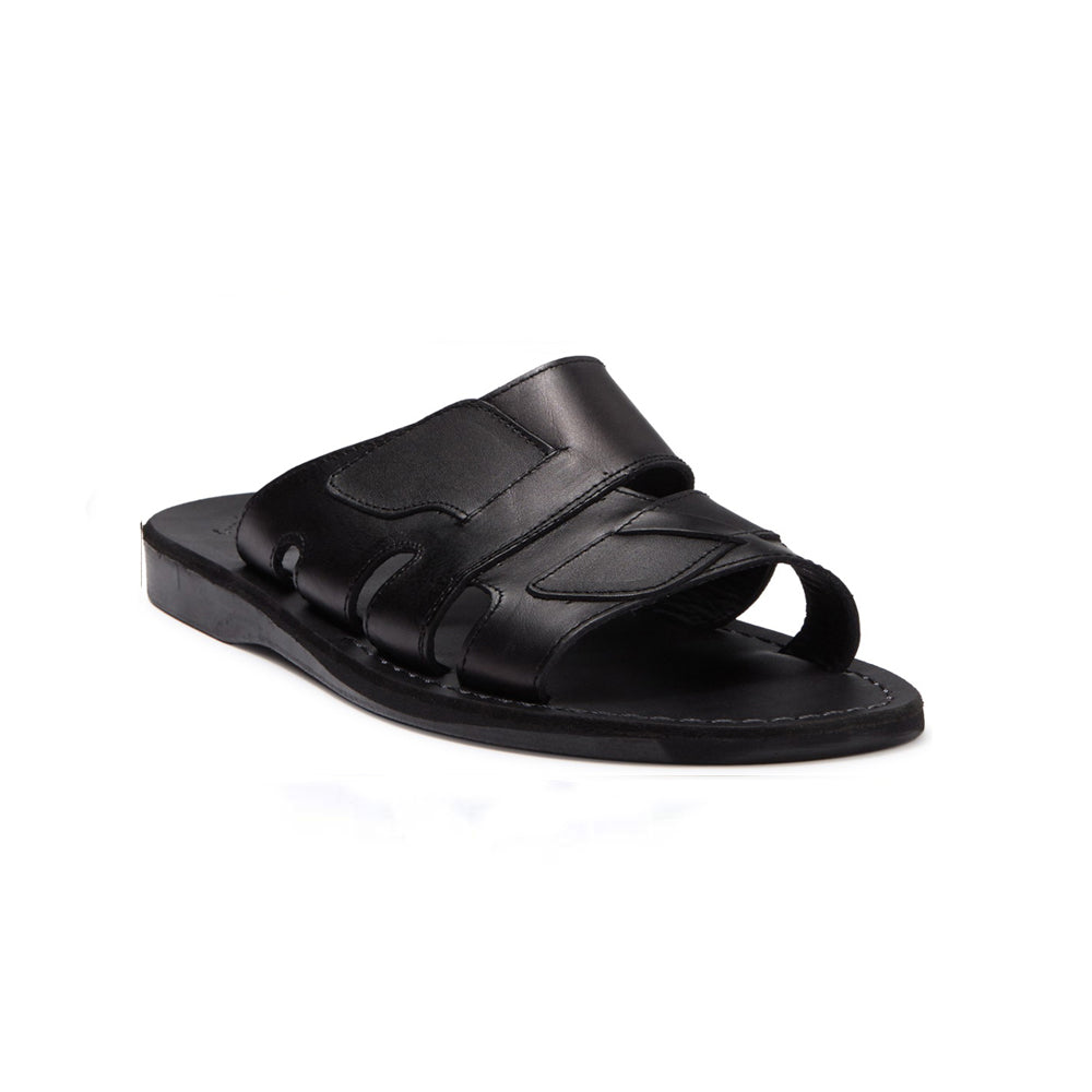 Mateo black, handmade leather slide sandals - Front View