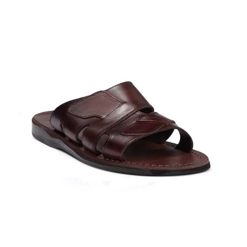 Mateo brown, handmade leather slide sandals - Front View