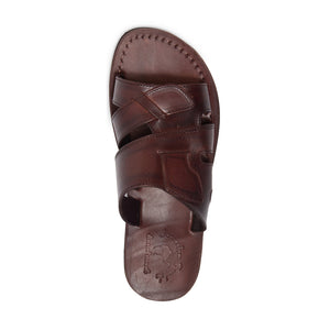 Mateo brown, handmade leather slide sandals - Top View