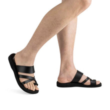 Load image into Gallery viewer, The Good Shepherd - Vegan Leather Sandal | Black model view