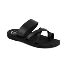 Load image into Gallery viewer, The Good Shepherd - Vegan Leather Sandal | Black front view