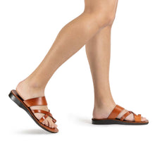 Load image into Gallery viewer, The Good Shepherd honey, handmade leather slide sandals with toe loop - Model View