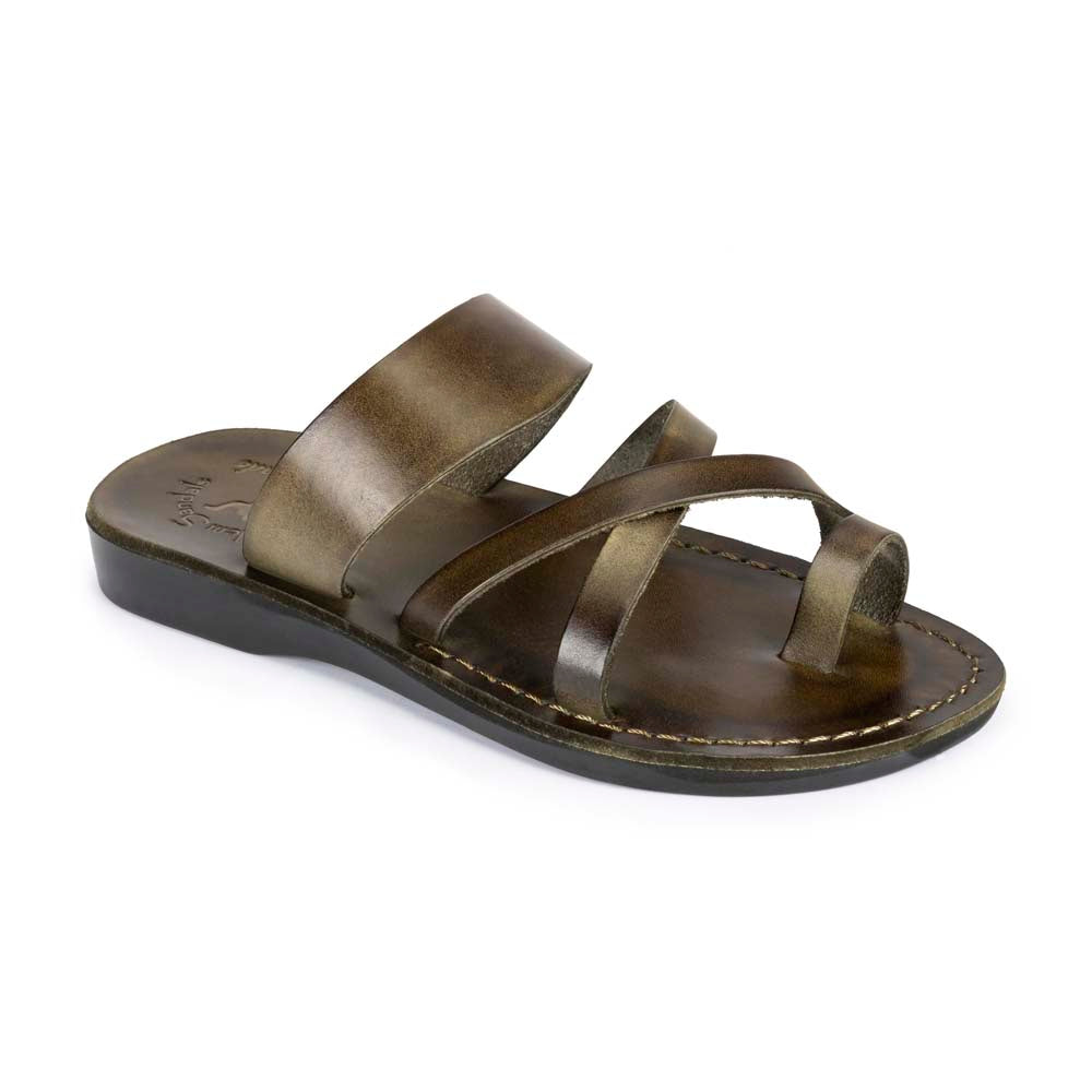 The Good Shepherd Olive, handmade leather slide sandals with toe loop - Front View