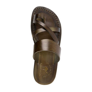 The Good Shepherd Olive, handmade leather slide sandals with toe loop - Up View