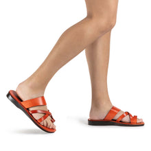 Load image into Gallery viewer, The Good Shepherd orange, handmade leather slide sandals with toe loop - Model View