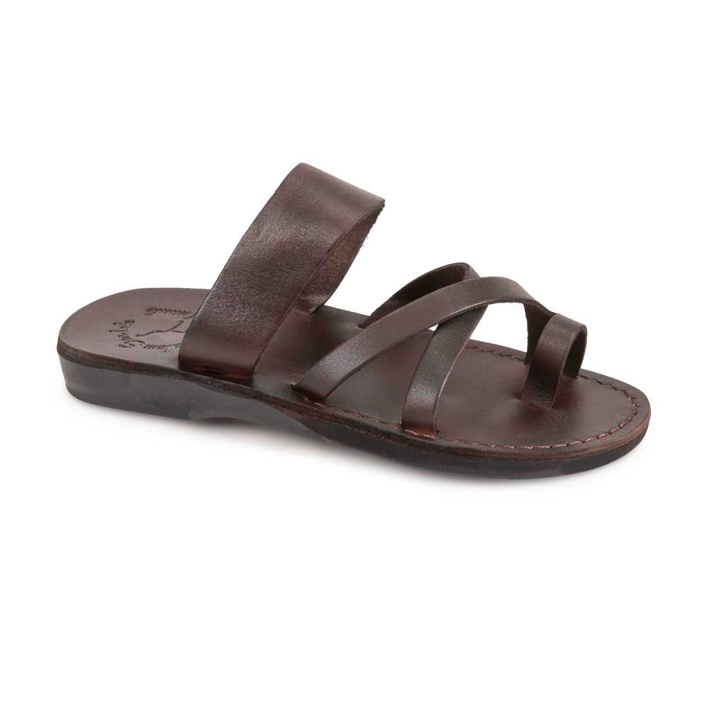 The Good Shepherd brown, handmade leather slide sandals with toe loop - Front View