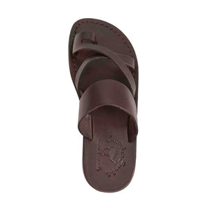 The Good Shepherd brown, handmade leather slide sandals with toe loop - Side View