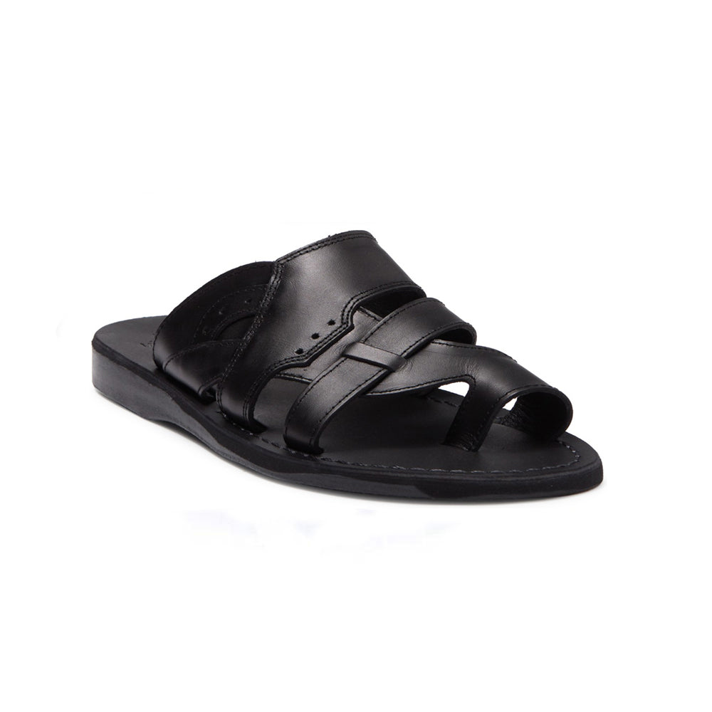 Aron black, handmade leather slide sandals with toe loop - Front View