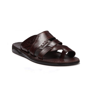 Aron brown, handmade leather slide sandals with toe loop - Front View