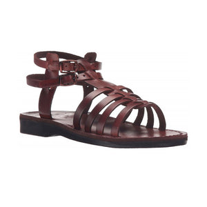 Leah brown, handmade leather sandals with back strap - Front View