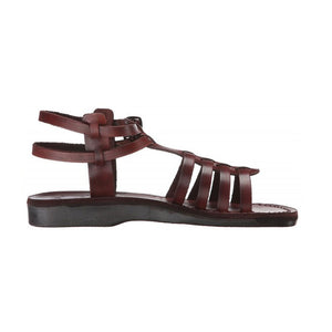 Leah brown, handmade leather sandals with back strap - right View