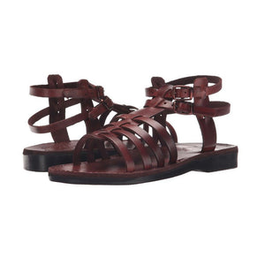 Leah brown, handmade leather sandals with back strap - strap View