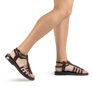 Leah brown, handmade leather sandals with back strap - Model View