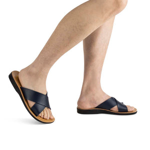 Elan - Vegan Leather Sandal | Blue model view