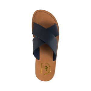 Elan - Vegan Leather Sandal | Blue up view