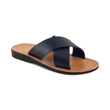 Load image into Gallery viewer, Elan - Vegan Leather Sandal | Blue front view