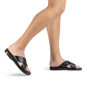 Elan black, handmade leather slide sandals - Model View