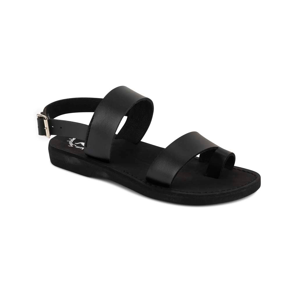 Carmel - Vegan Leather Sandal | Black front view