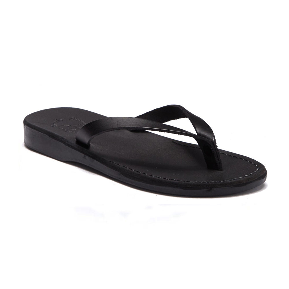 Jaffa black, slip-on flip flop style leather sandal - front view