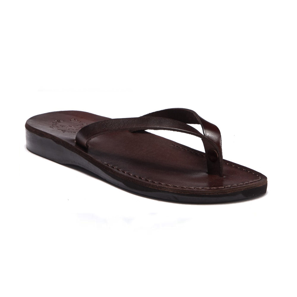 Jaffa brown, slip-on flip flop style leather sandal - front view
