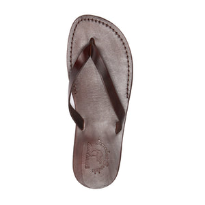 Jaffa brown, slip-on flip flop style leather sandal - top view