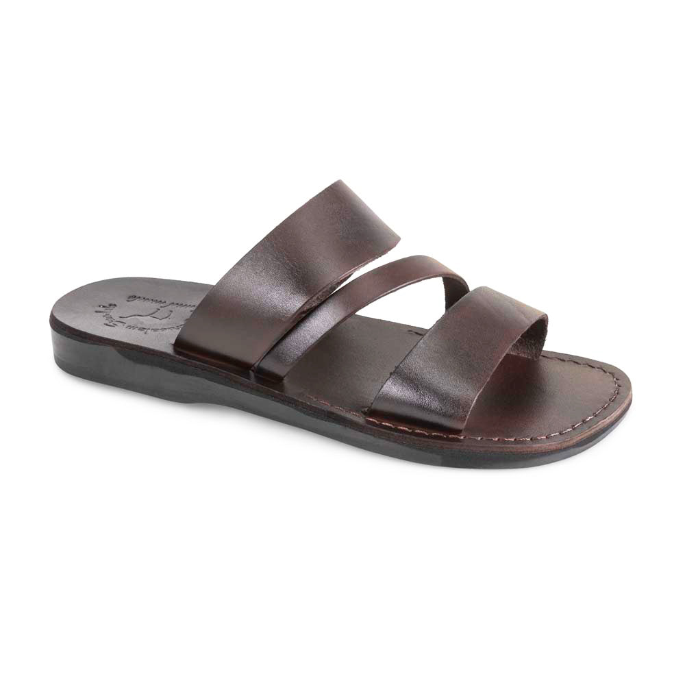 Boaz black, handmade leather slide sandals - Front View