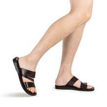 Load image into Gallery viewer, Boaz black, handmade leather slide sandals - Model View