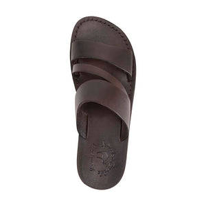Boaz black, handmade leather slide sandals - Up View