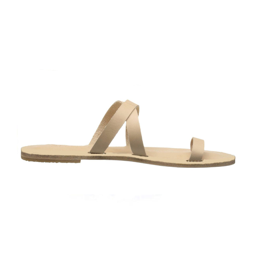 Hollywood natural, handmade leather slide sandals - Front View