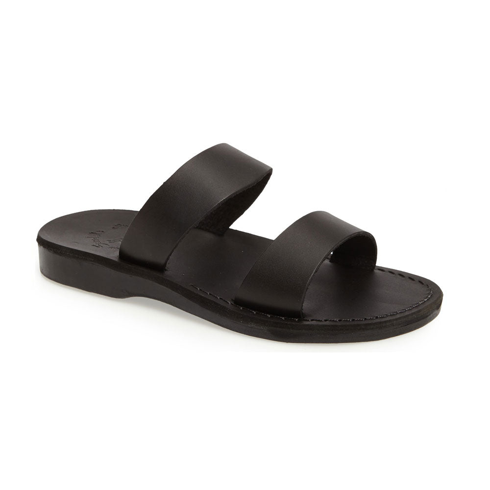 Aviv black, handmade leather slide sandals - Front View