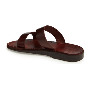 Aviv Brown, handmade leather slide sandals - back View